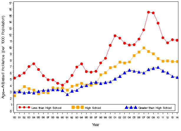 Age-adjusted incidence rate of representatives of various educational levels