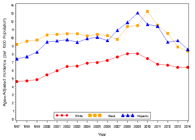 Age-adjusted incidence rate of representatives of various nationalities